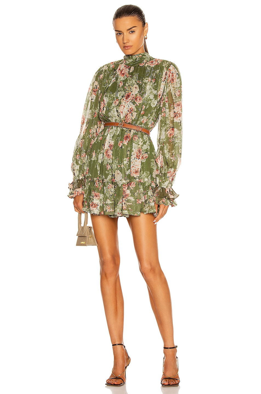 Image 1 of HEMANT AND NANDITA Neem Mini Dress in Olive Green