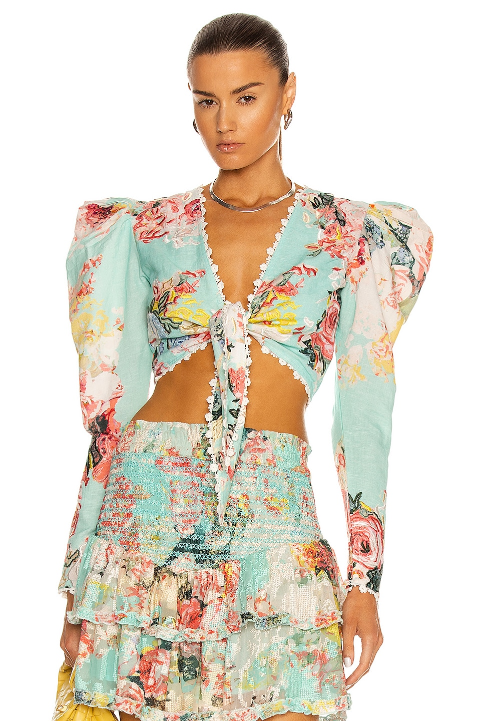Image 1 of HEMANT AND NANDITA Sage Crop Top in Turquoise