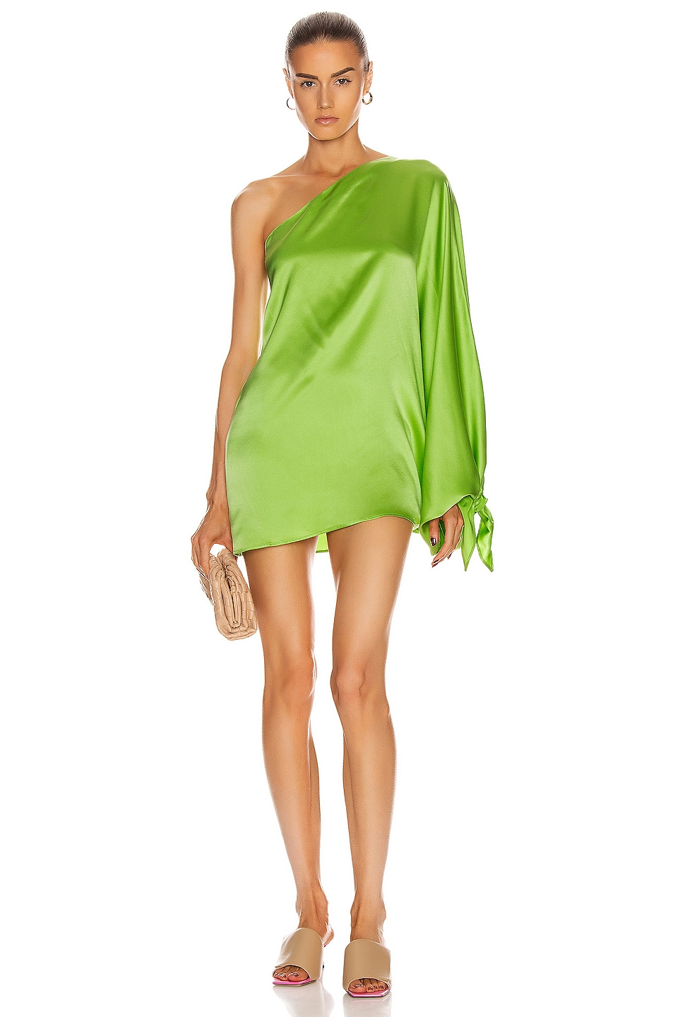 Image 1 of BERNADETTE Linda Silk Satin Dress in Apple Green