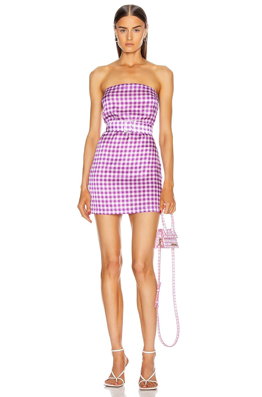 Image 1 of BERNADETTE Carrie Mini Silk Satin Stretch Dress in Purple Gingham