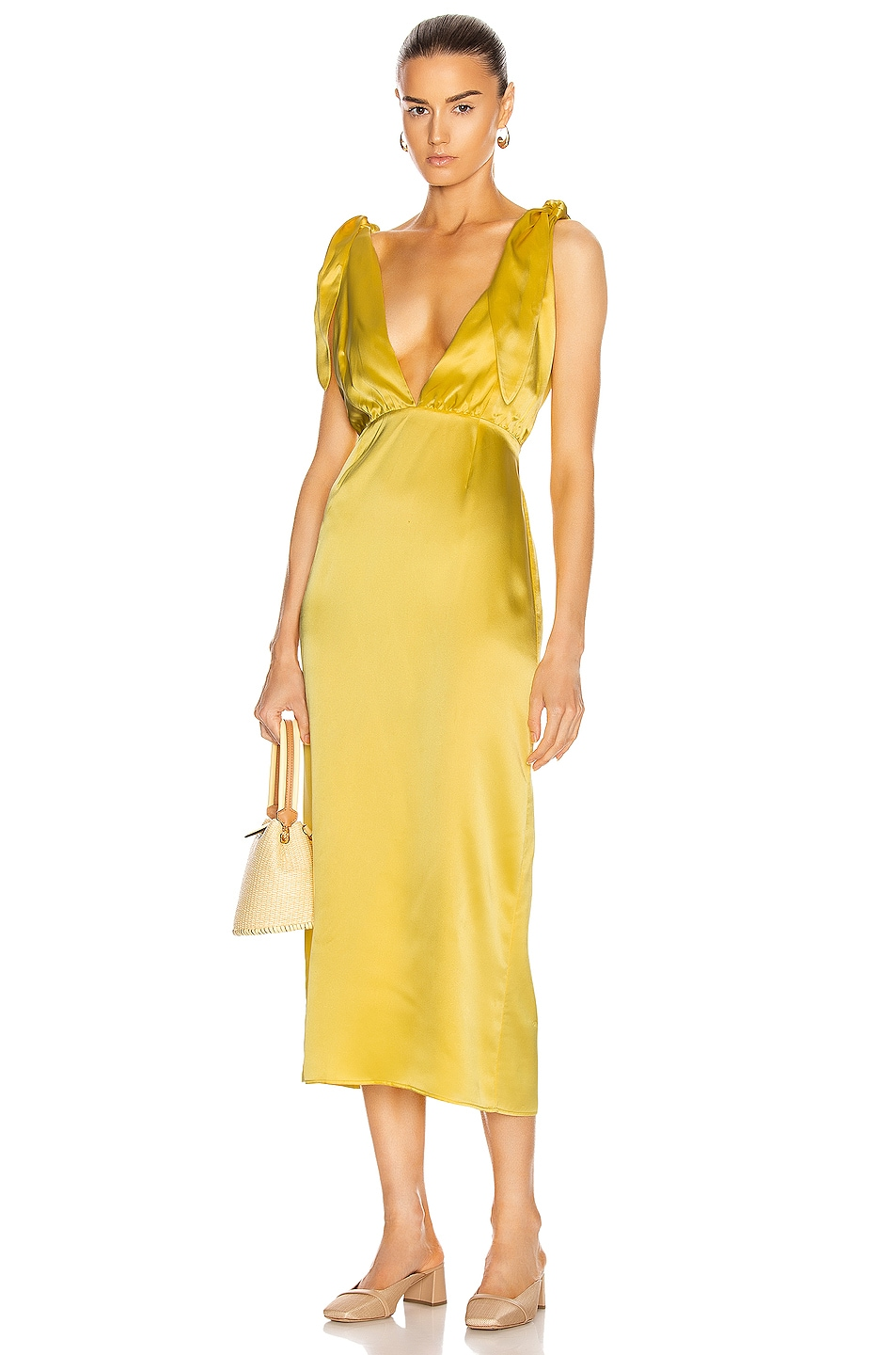Image 1 of BERNADETTE John Silk Satin Dress in Daffodil Yellow
