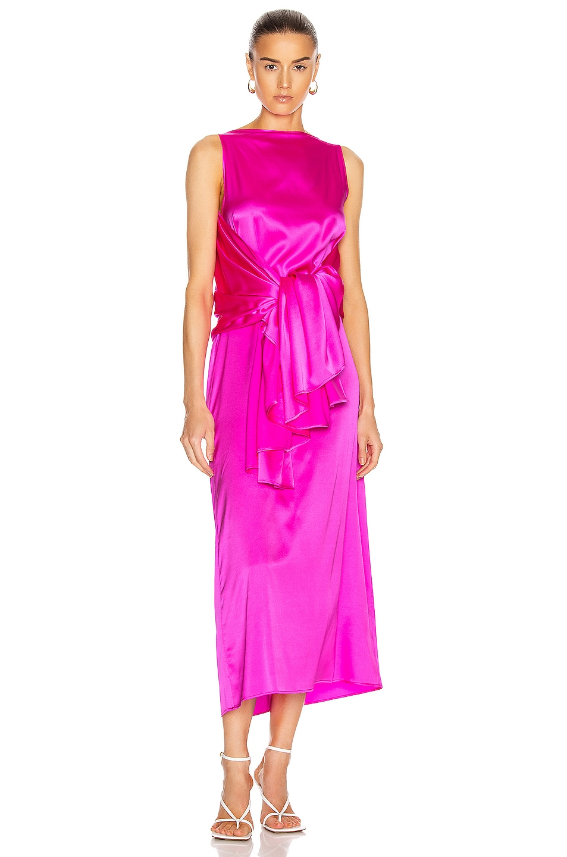Image 1 of BERNADETTE Judy Silk Satin Dress in Pink