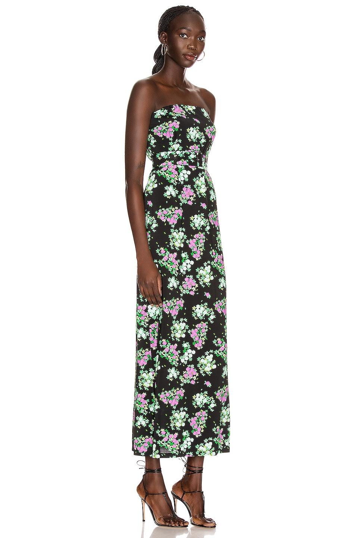 Image 2 of BERNADETTE Carrie Strapless Dress in Roses Black