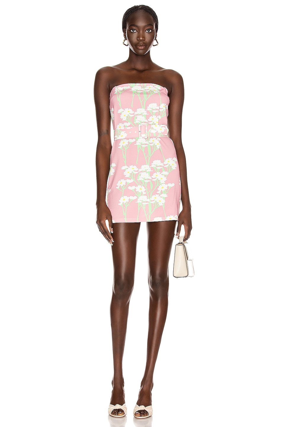 Image 1 of BERNADETTE Carrie Mini Dress in Daisy White & Pink
