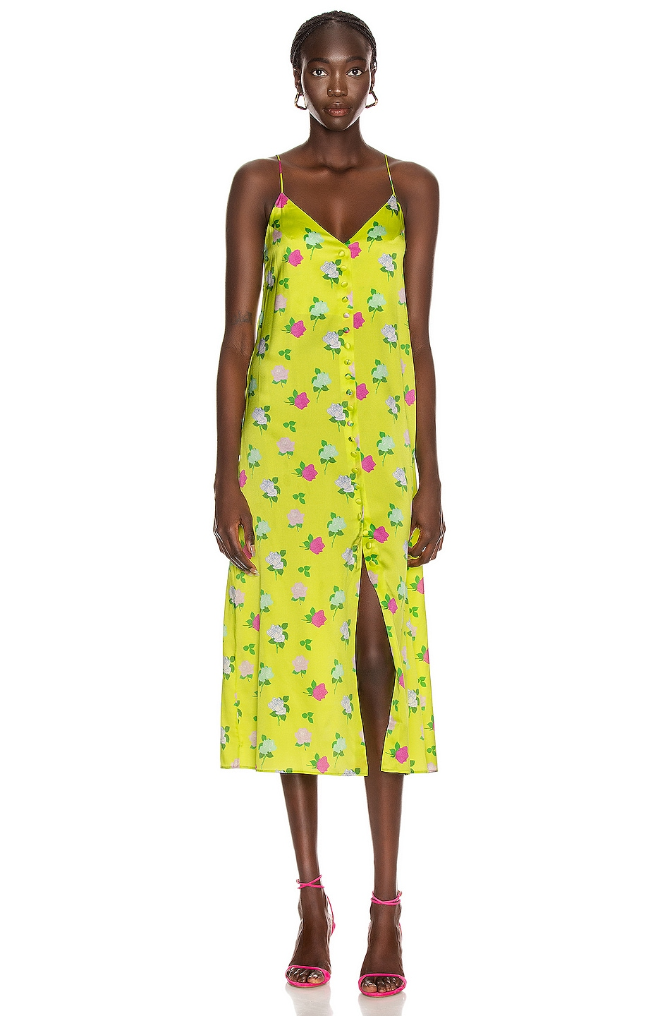 Image 1 of BERNADETTE Hailey Slip Dress in Rose Multi & Yellow