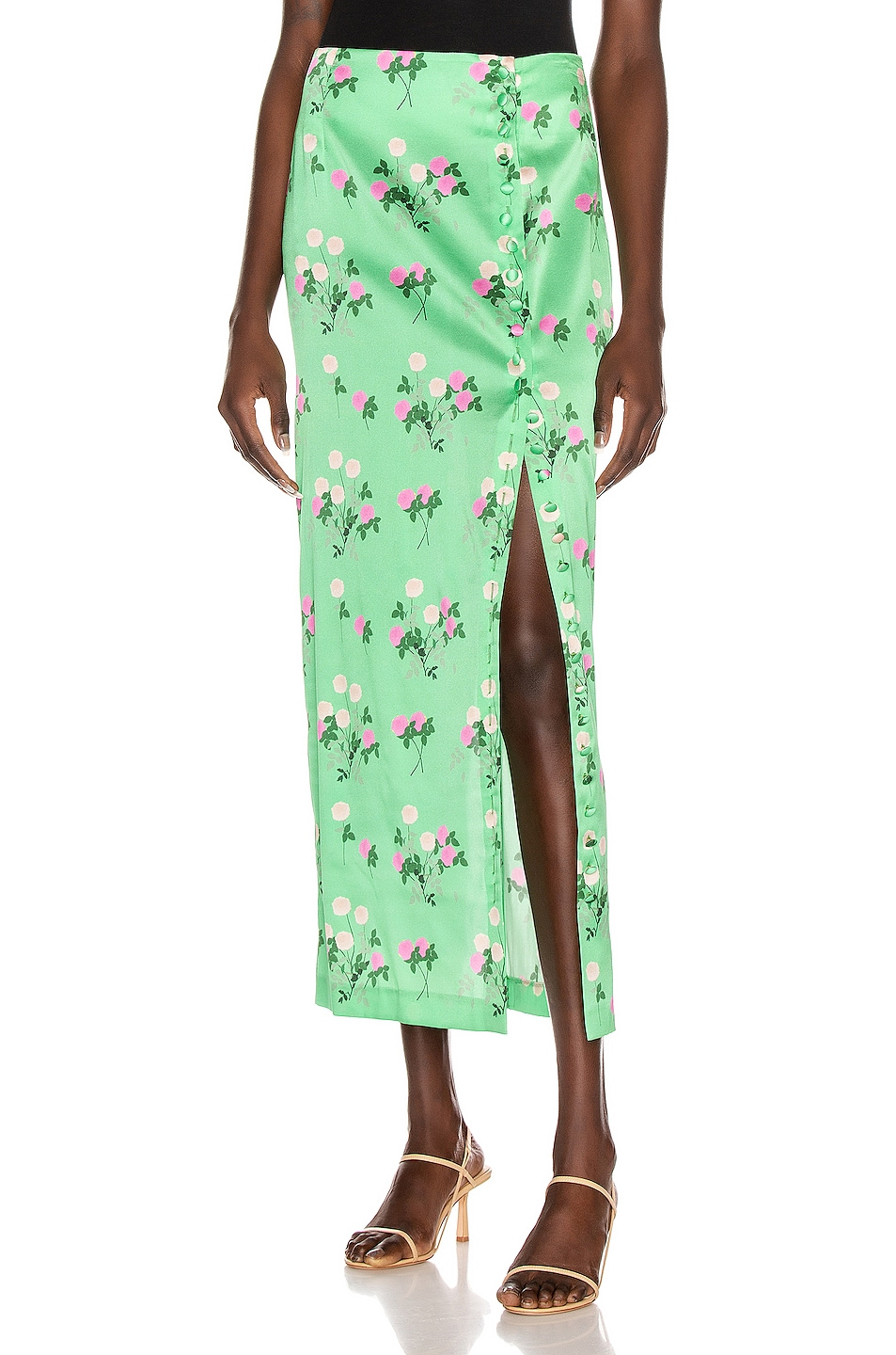 Image 1 of BERNADETTE Kelly Skirt in Floral Pink & Green