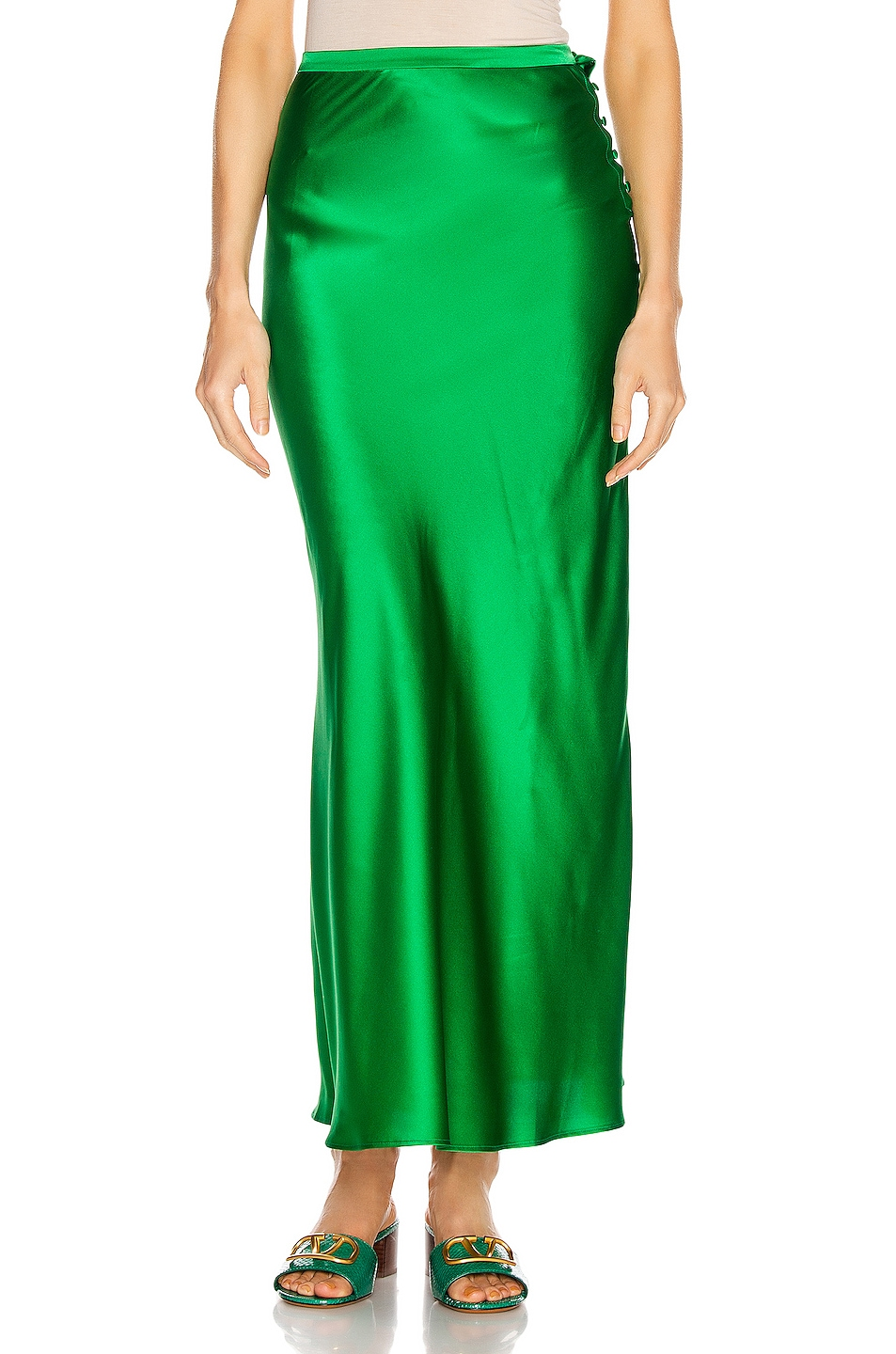 Image 1 of BERNADETTE Florence Silk Satin Skirt in Emerald