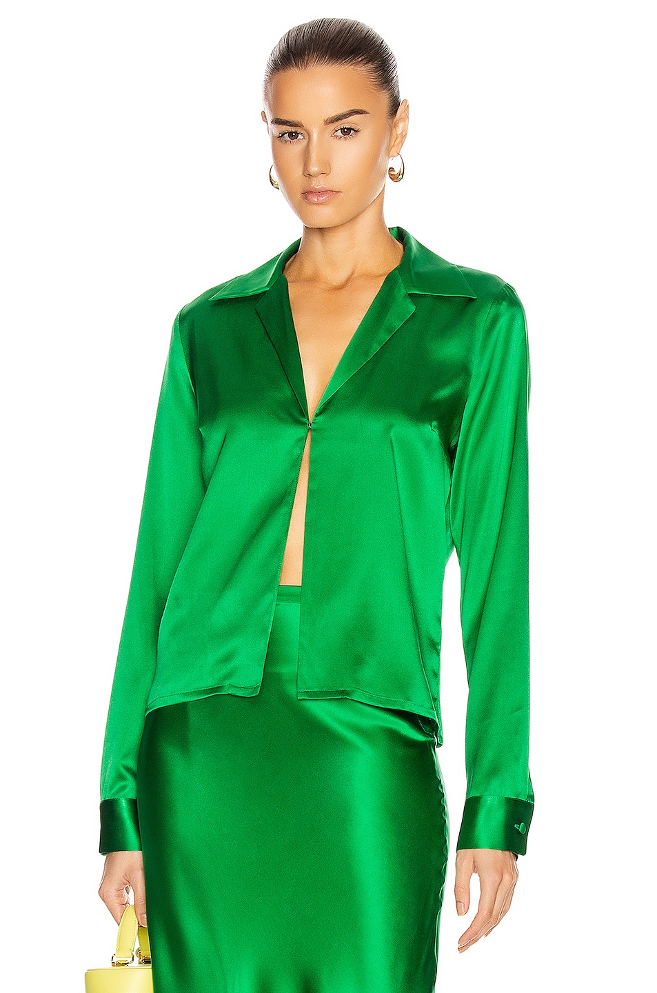 Image 1 of BERNADETTE Bill Silk Satin Shirt in Emerald