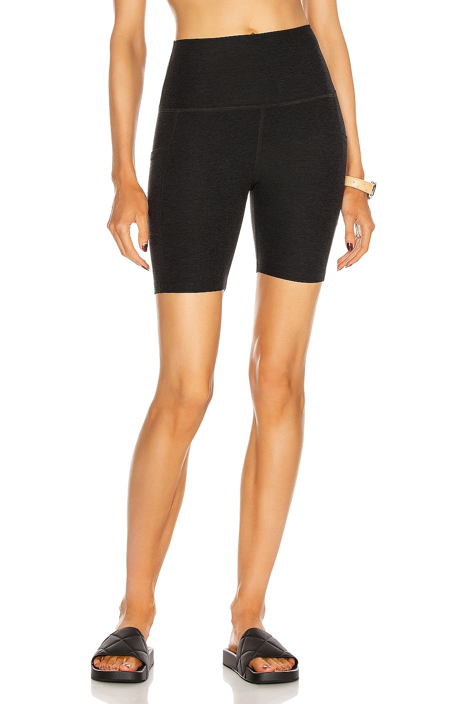 Image 1 of Beyond Yoga Spacedye Team Pockets High Waisted Biker Short in Darkest Night