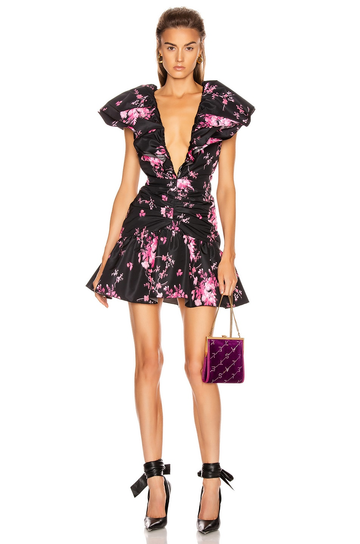 Image 1 of BROGNANO Taffeta Floral Print Mini Dress in Black Floral