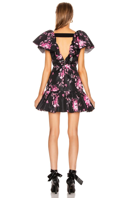 Image 3 of BROGNANO Taffeta Floral Print Mini Dress in Black Floral