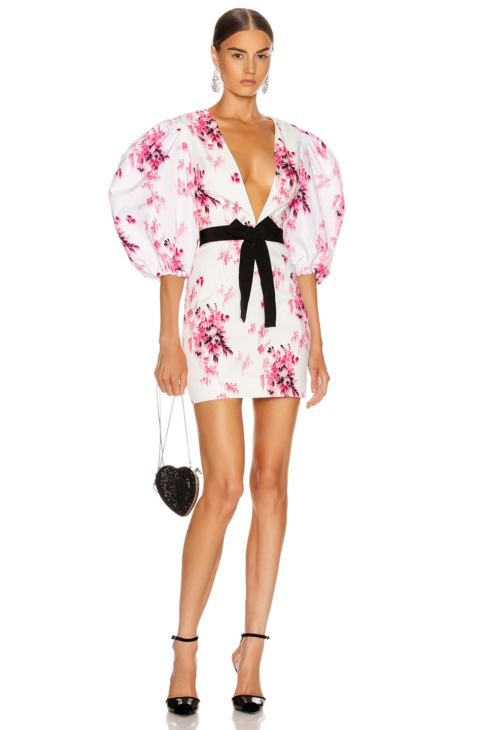 Image 1 of BROGNANO Crepe Floral Print Mini Dress in White Floral