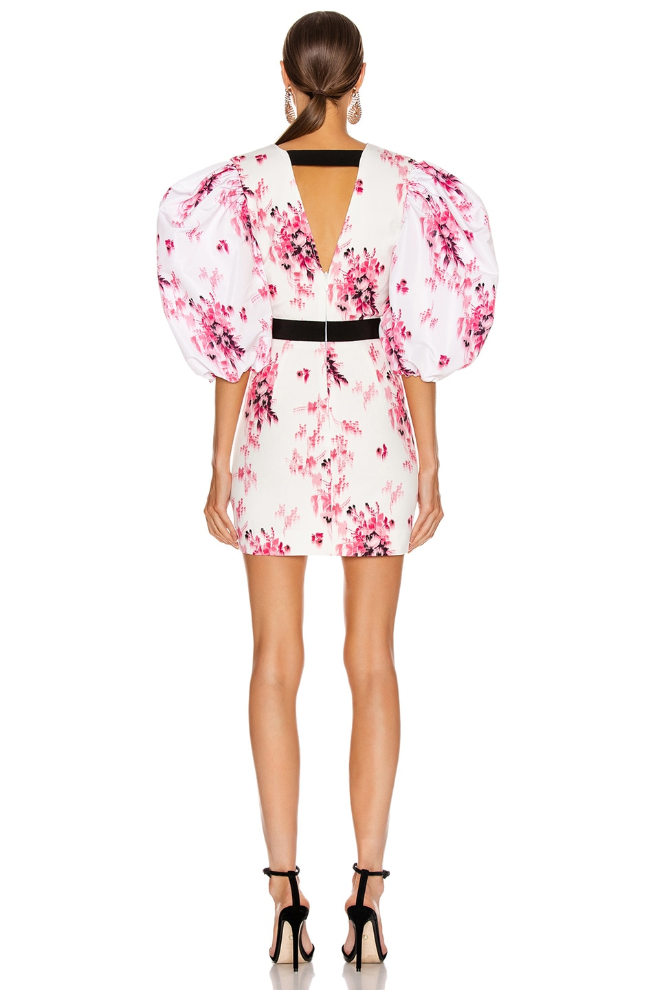 Image 3 of BROGNANO Crepe Floral Print Mini Dress in White Floral