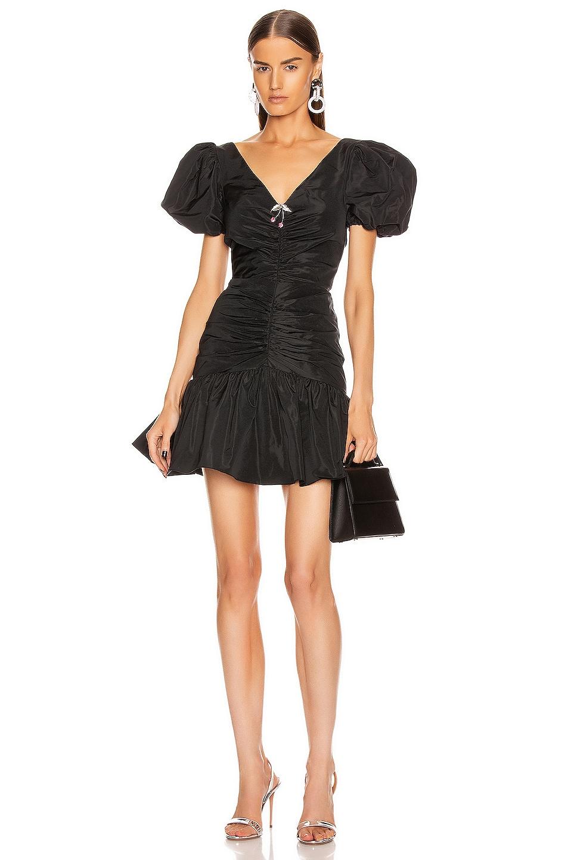 Image 1 of BROGNANO Puff Sleeve Ruched Mini Dress in Black