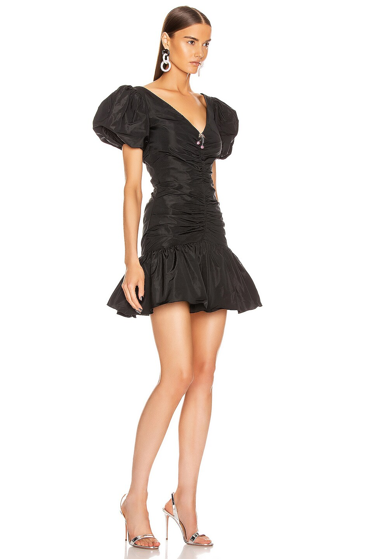 Image 2 of BROGNANO Puff Sleeve Ruched Mini Dress in Black