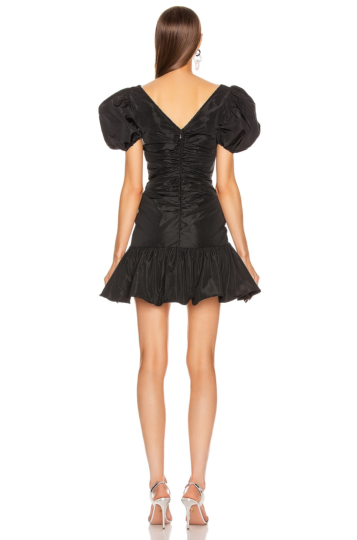 Image 3 of BROGNANO Puff Sleeve Ruched Mini Dress in Black