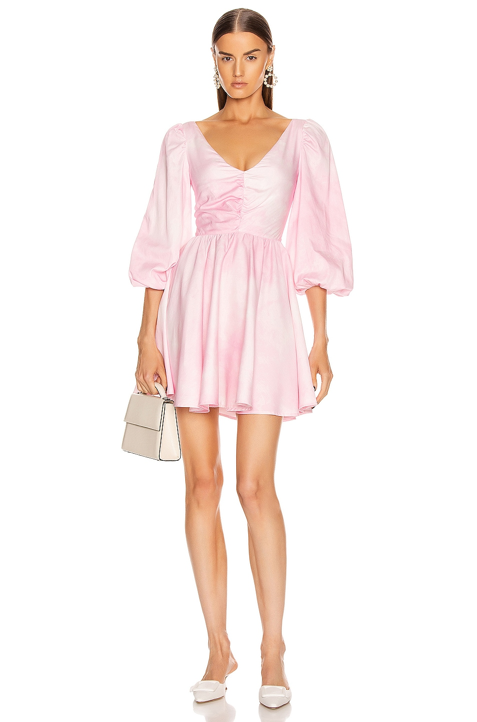 Image 1 of BROGNANO Ruched Empire Waist Mini Dress in Pink