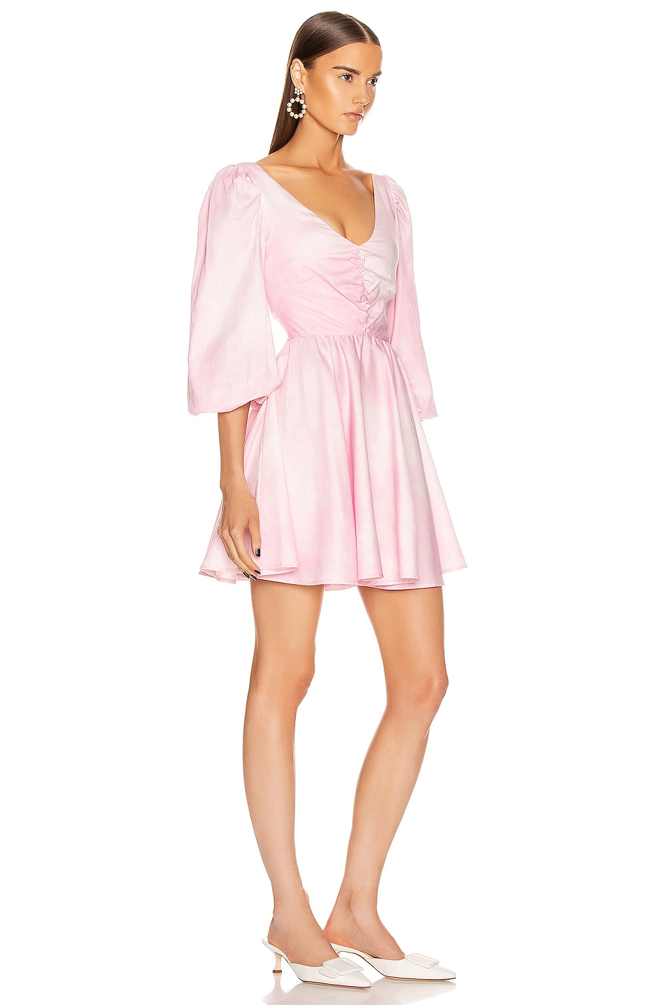Image 2 of BROGNANO Ruched Empire Waist Mini Dress in Pink