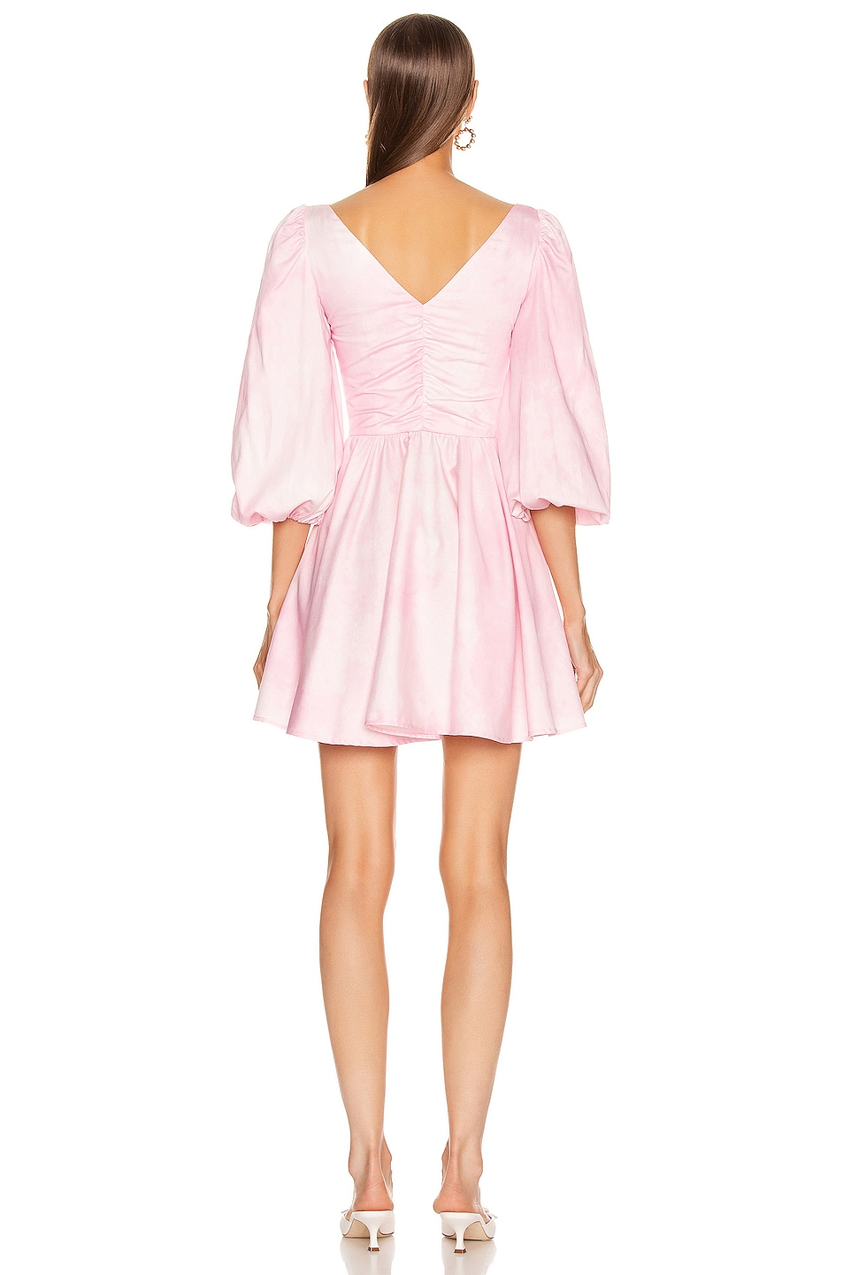 Image 3 of BROGNANO Ruched Empire Waist Mini Dress in Pink