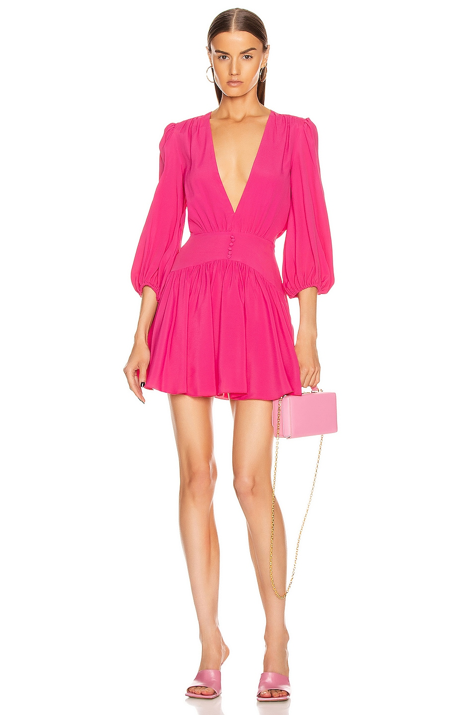 Image 1 of BROGNANO Plunging Mini Dress in Pink