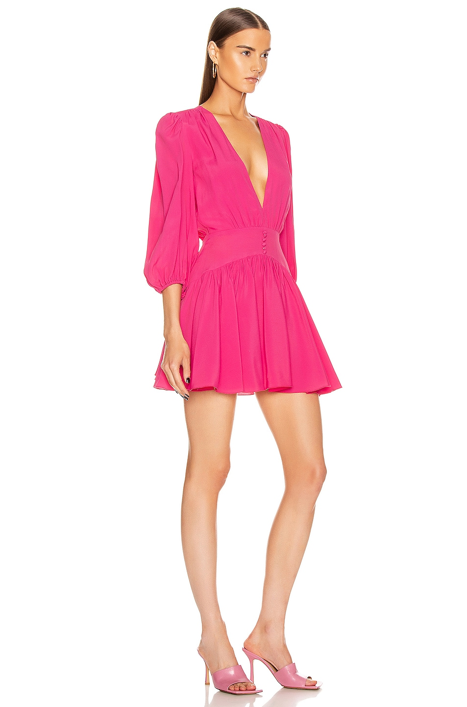 Image 2 of BROGNANO Plunging Mini Dress in Pink