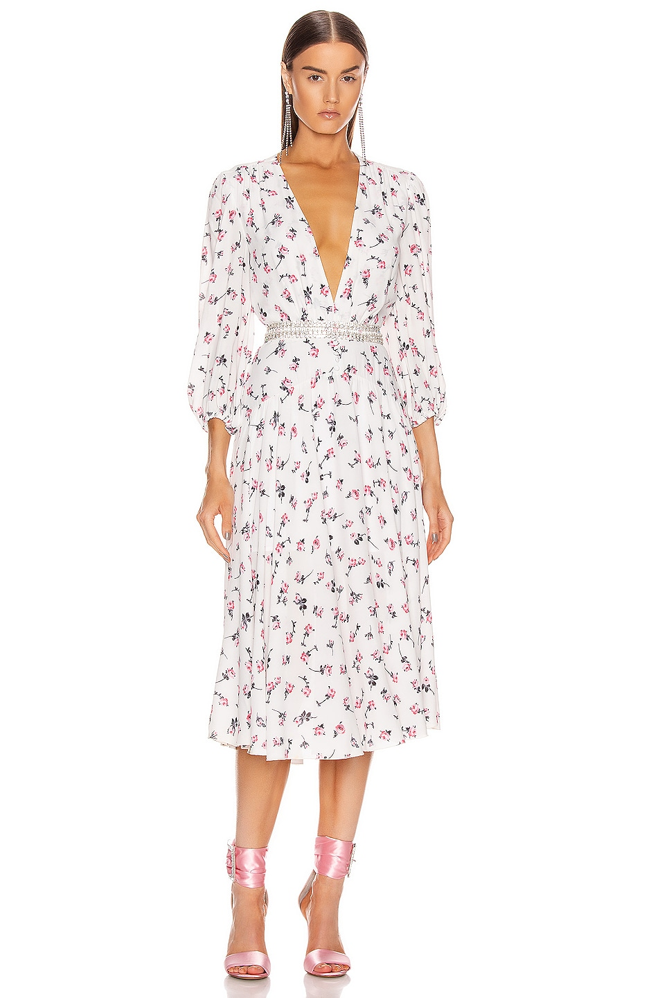 Image 1 of BROGNANO Plunging Floral Midi Dress in Multi