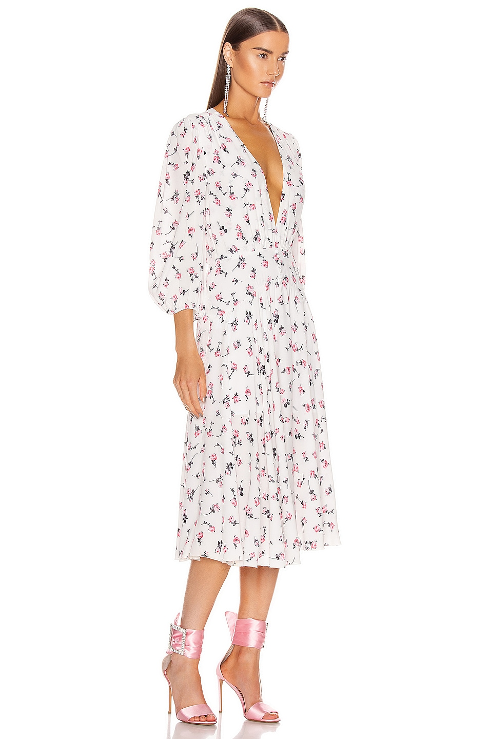 Image 2 of BROGNANO Plunging Floral Midi Dress in Multi