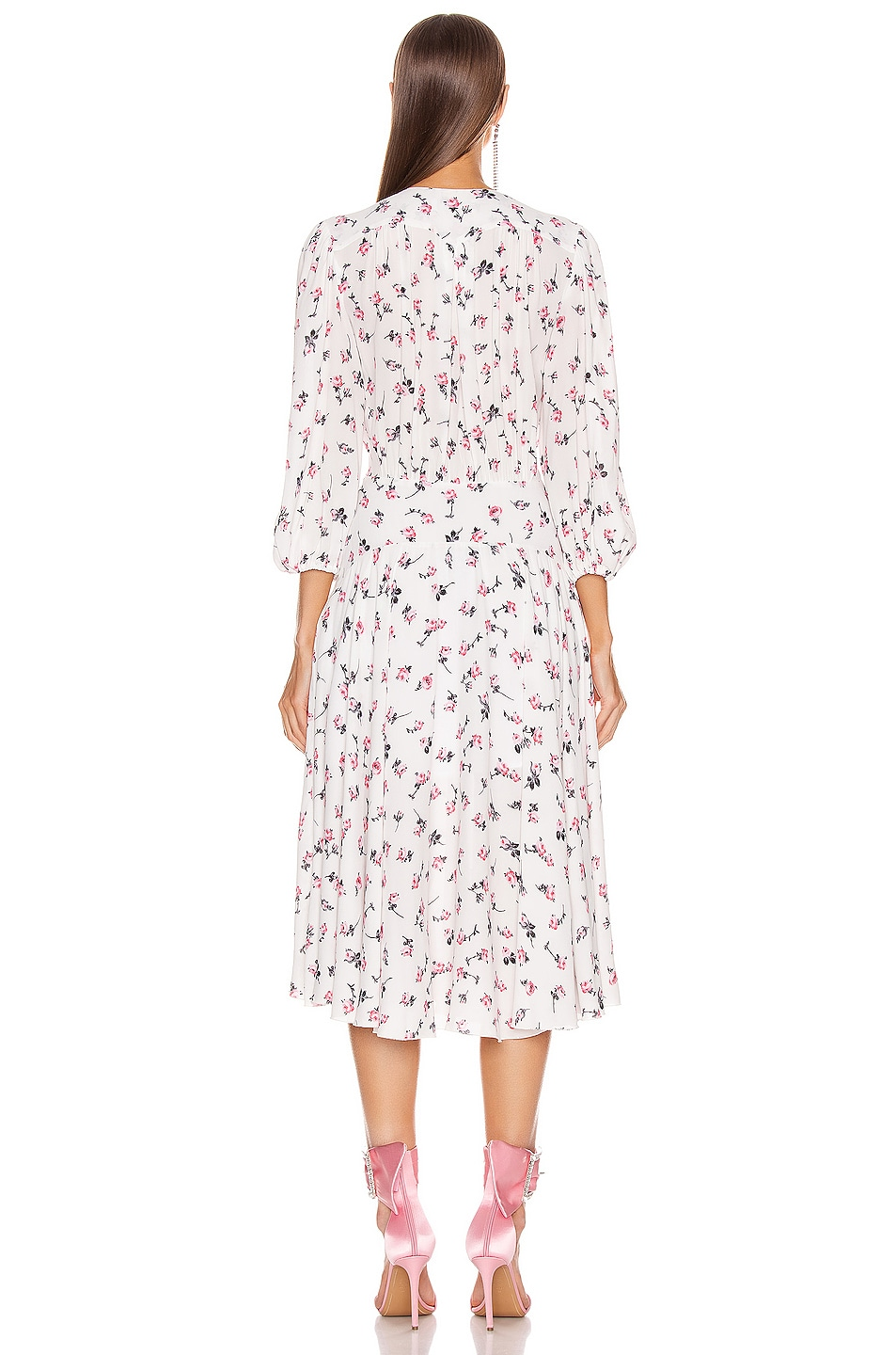 Image 3 of BROGNANO Plunging Floral Midi Dress in Multi