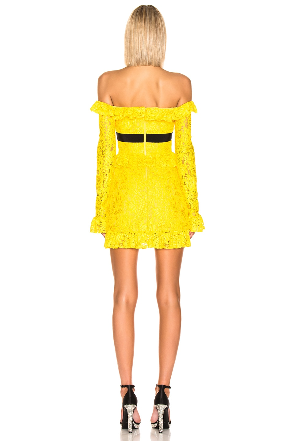 Image 3 of BROGNANO Off the Shoulder Lace Mini Dress in Yellow