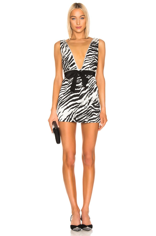 Image 1 of BROGNANO Plunging Zebra Mini Dress in Black & White