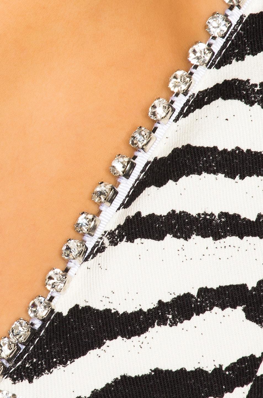 Image 4 of BROGNANO Plunging Zebra Mini Dress in Black & White