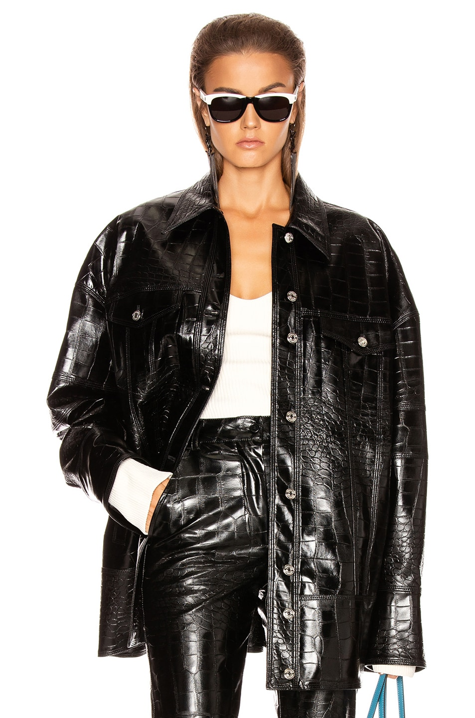Image 1 of BROGNANO Crocodile Print Jacket in Black