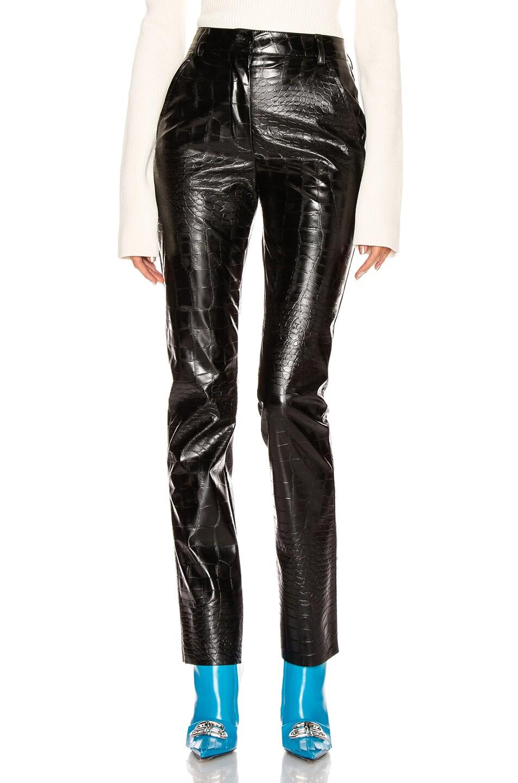 Image 1 of BROGNANO Crocodile Print Skinny Trouser in Black