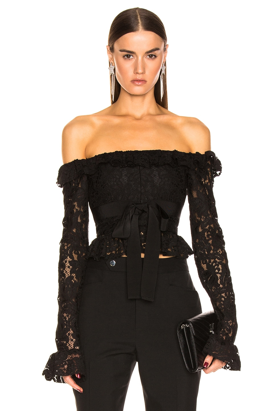 Brognano Tops BROGNANO OFF THE SHOULDER LACE TOP IN BLACK.