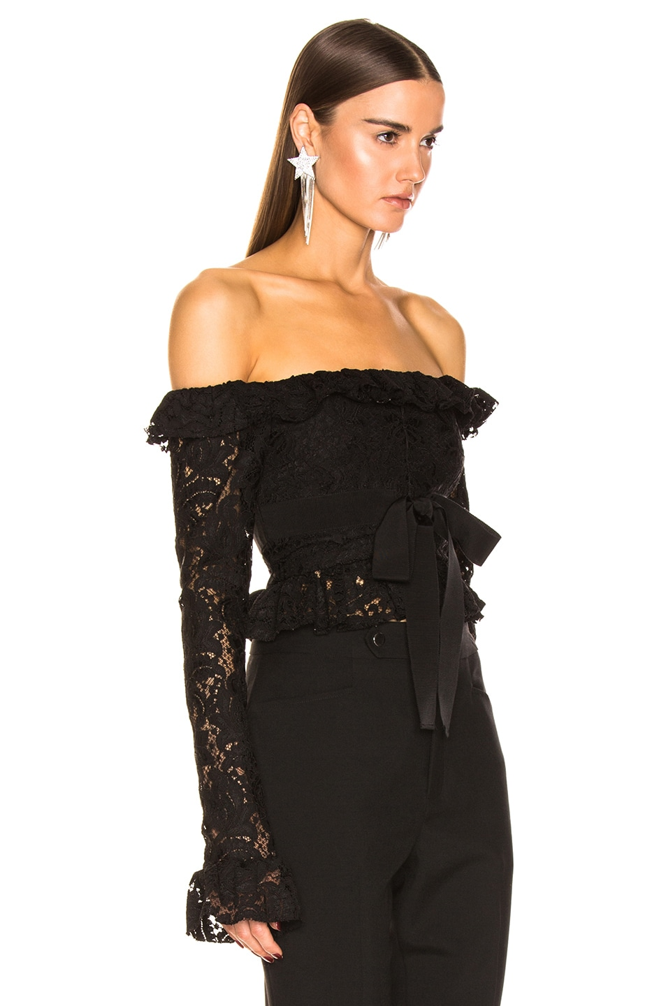 Image 2 of BROGNANO Off the Shoulder Lace Top in Black