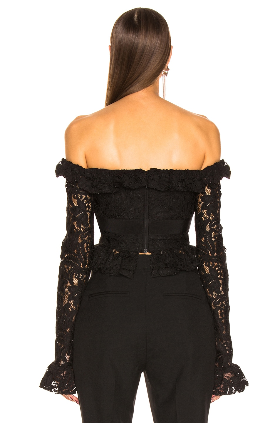 Image 3 of BROGNANO Off the Shoulder Lace Top in Black