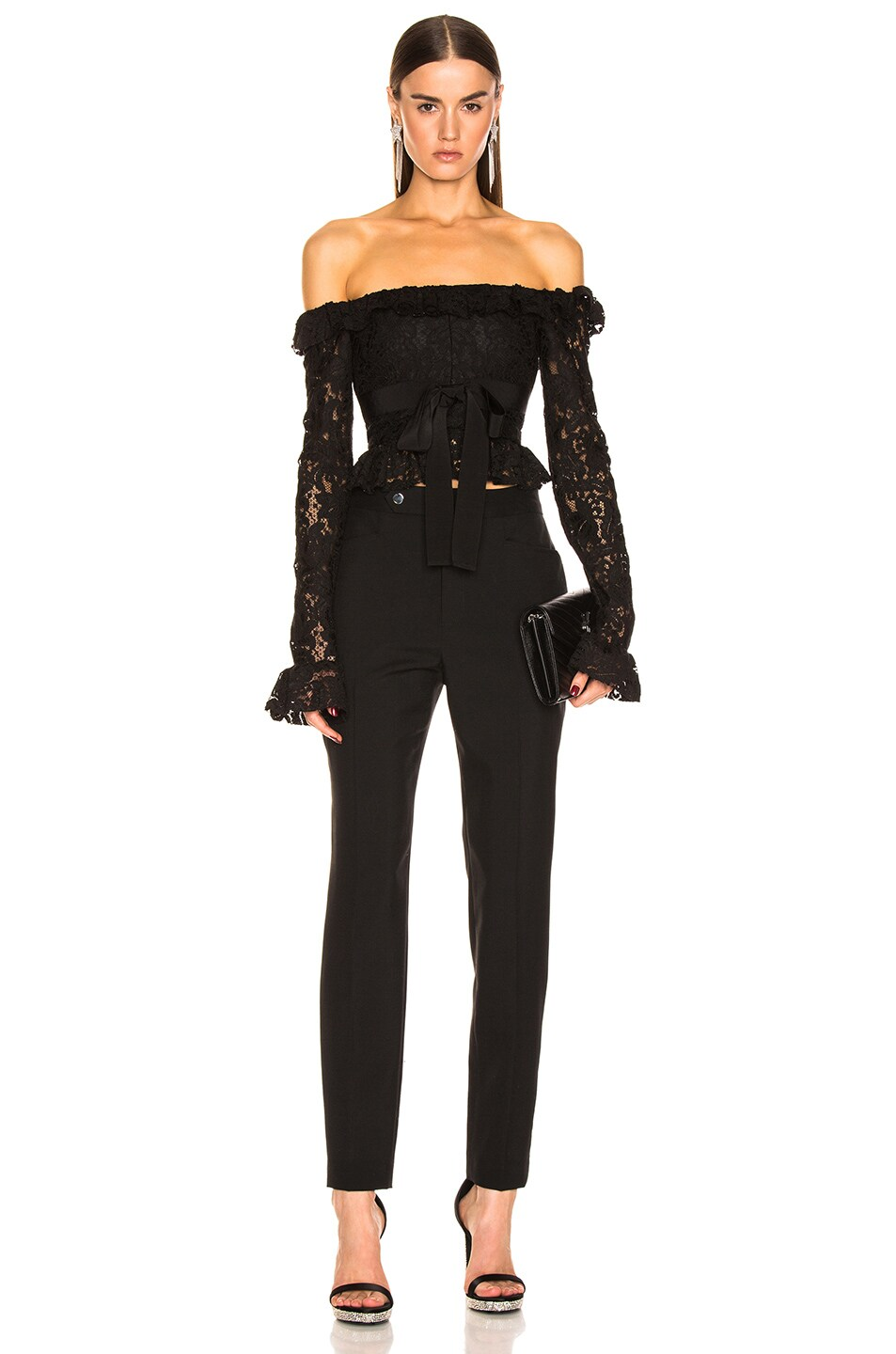Image 4 of BROGNANO Off the Shoulder Lace Top in Black