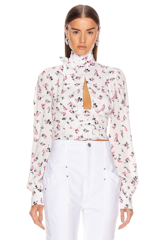 Image 1 of BROGNANO Floral Tie Neck Top in Multi
