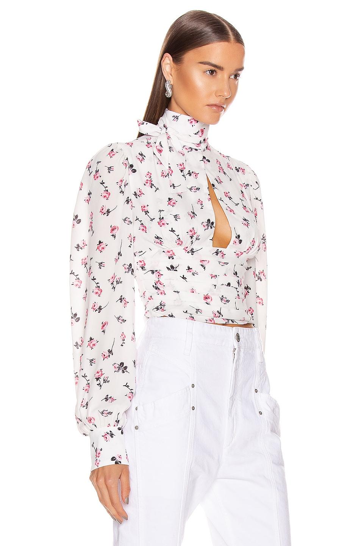 Image 2 of BROGNANO Floral Tie Neck Top in Multi