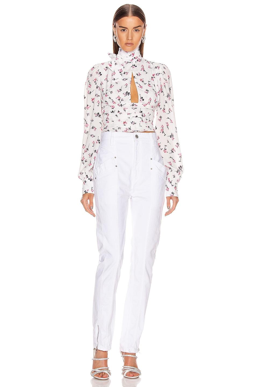 Image 4 of BROGNANO Floral Tie Neck Top in Multi