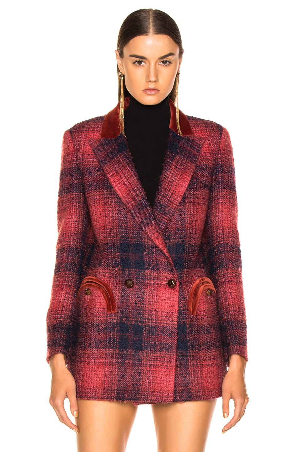 Image 2 of Blaze Milano Hickstead Everyday Double Breasted Blazer in Cherry Tartan