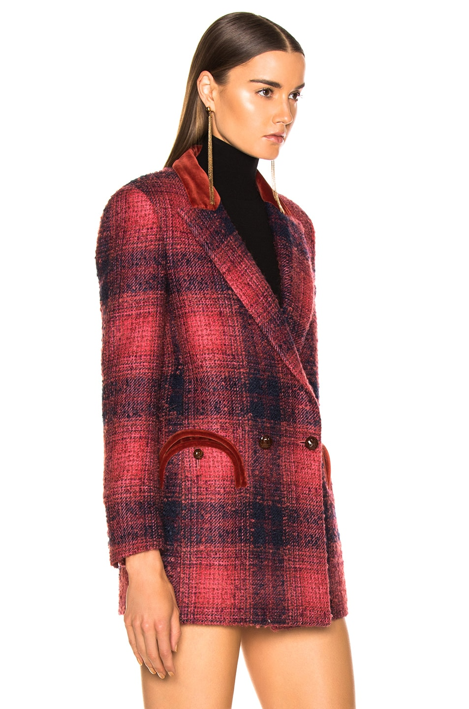 Image 3 of Blaze Milano Hickstead Everyday Double Breasted Blazer in Cherry Tartan