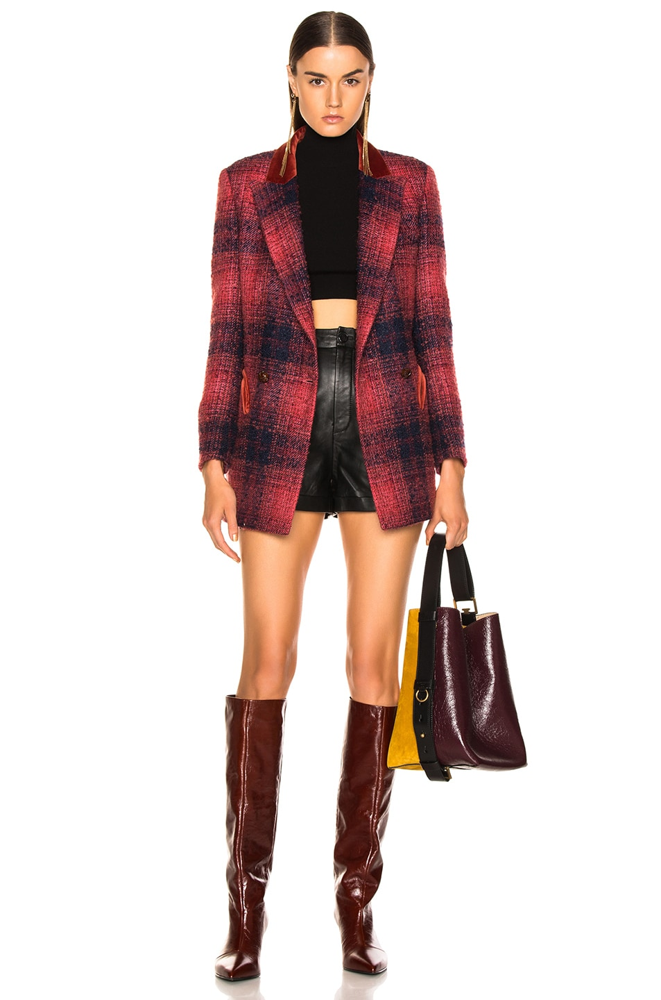 Image 5 of Blaze Milano Hickstead Everyday Double Breasted Blazer in Cherry Tartan