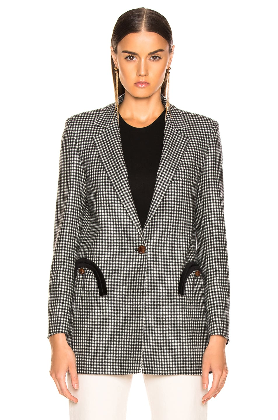 Image 2 of Blaze Milano Fair and Square Timeless Blazer in Black & White Check