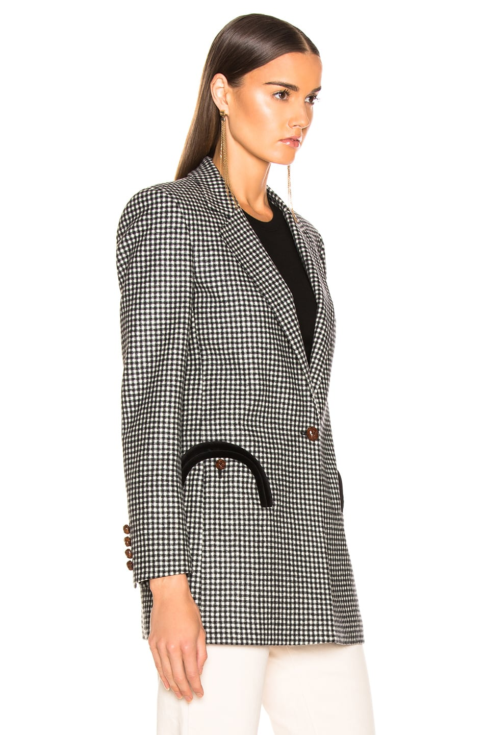 Image 3 of Blaze Milano Fair and Square Timeless Blazer in Black & White Check