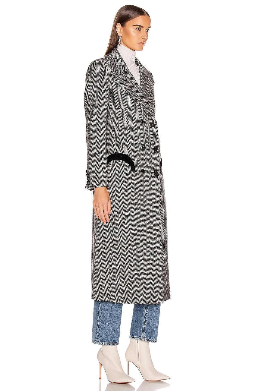 Image 3 of Blaze Milano Lady Anne Black Great Coat in Black & White Herringbone