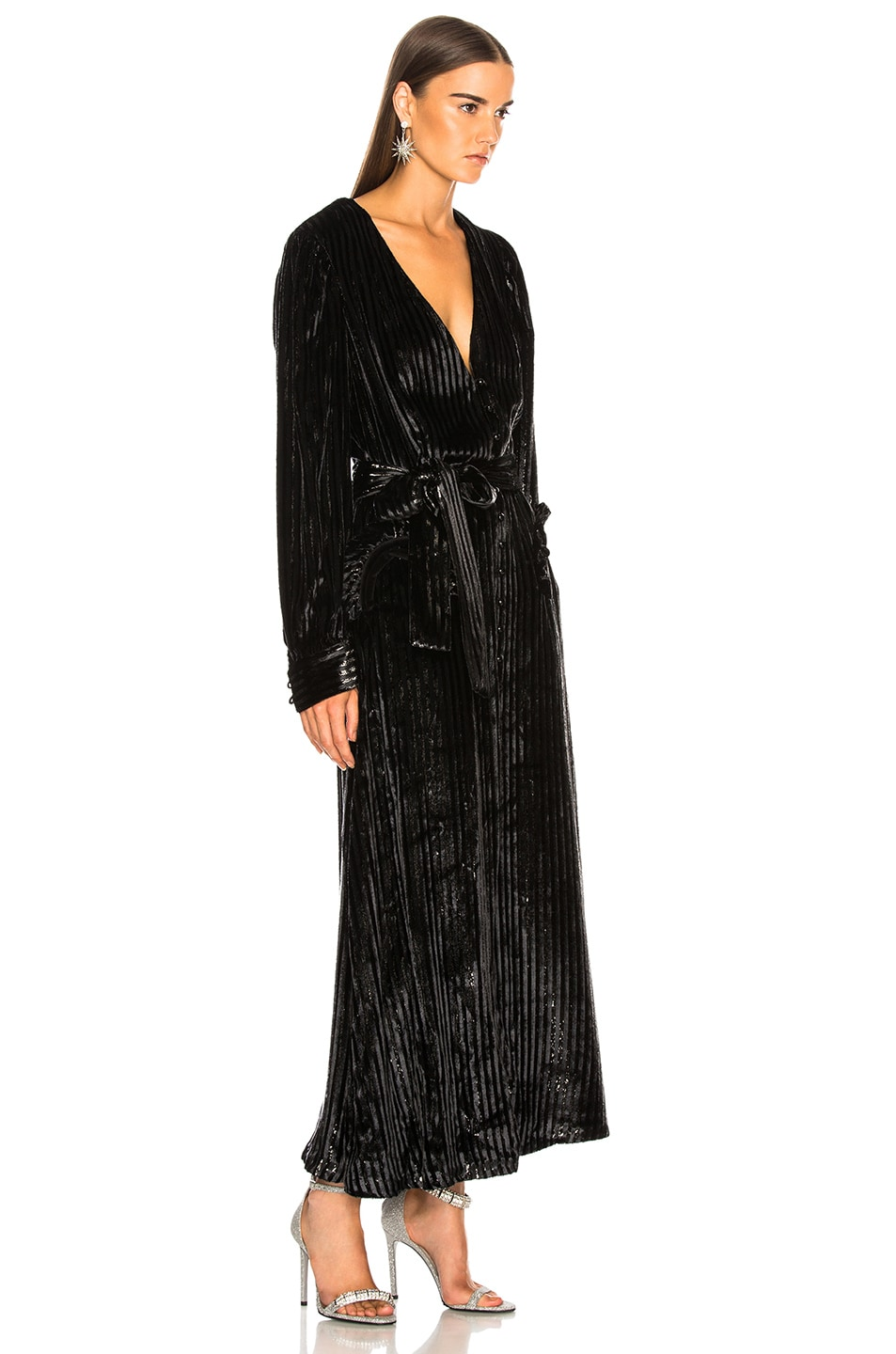 Image 4 of Blaze Milano Vanity Sequin Stripe Ballroom Blazer in Black