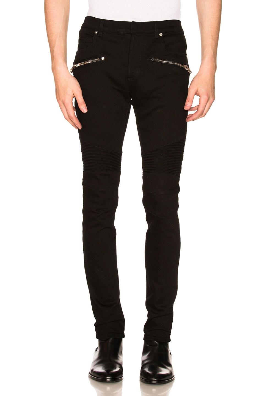 Image 1 of BALMAIN 7 Pocket Biker Jeans in Black