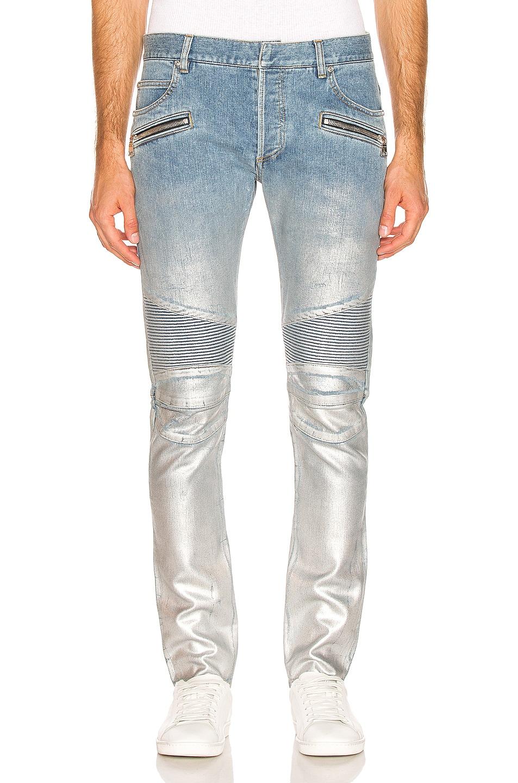 Image 1 of BALMAIN Slim Ribbed Zip Pocket Jean in Bleu