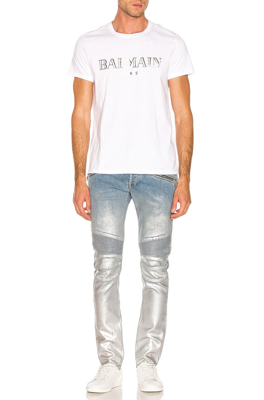 Image 5 of BALMAIN Slim Ribbed Zip Pocket Jean in Bleu